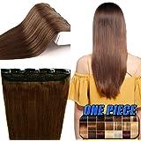 40-60cm Extension Capelli Veri Clip Fascia Unica 5 Clips Larga 25cm - 100% Remy Human Hair Capelli Naturali Lisci