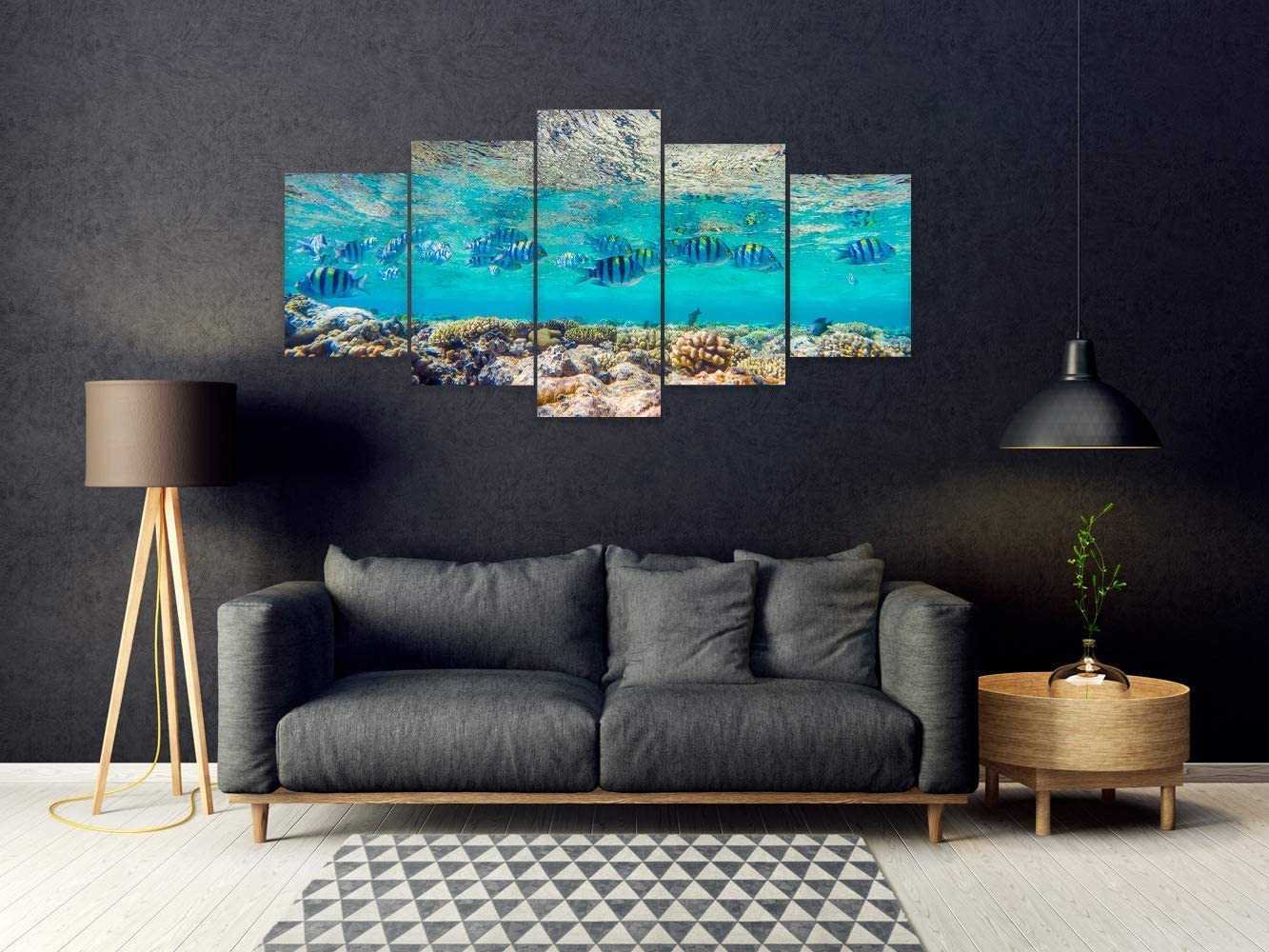 Oedim Pack Of 5 Paintings In White Aluminium And Pvc Fish Various Sizes Set Of Pieces Home Decoration Decorative Items For Rooms 200 X 100 Cm Amazon Co Uk Kitchen Home