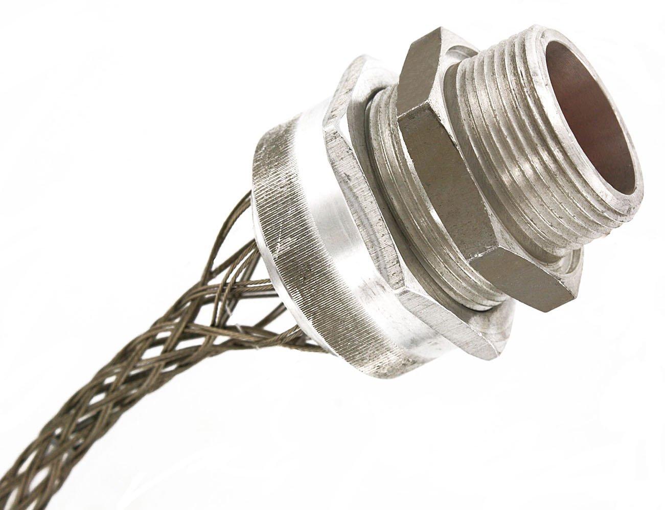 Leviton L7748 3-Inch, Straight, Male, Aluminum Body, Deluxe Cord Sealing Strain-Relief, 2.062 to 2.187 Cord Range