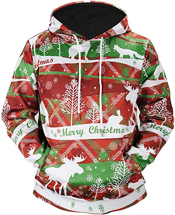UK Christmas Men 3D Print Pullover Funny Sweatshirt Coat Jumper Xmas Outwear Top
