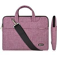 13.3-14 Inch Laptop Bag,Multifunctional Fabric Waterproof Laptop Case,Portable Sleeve Briefcase,Adjustable Shoulder Strap&Suppressible Handle(purple lines,13.3)