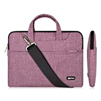 13.3-14 Inch Laptop Bag,Multifunctional Fabric Waterproof Laptop Case,Portable Sleeve Briefcase,Adjustable Shoulder Strap&Suppressible Handle(purple lines,13.3)