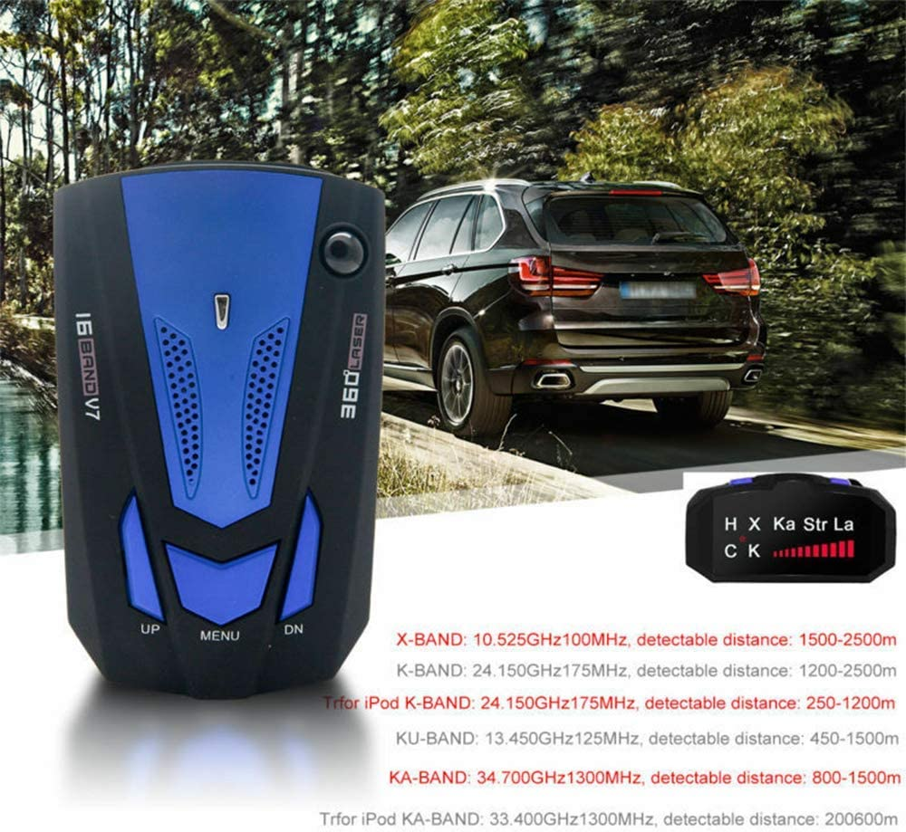 MASO New Car Speed Radar Detector with LED Display City//Highway Mode 360 Degrees Car Speed Alarm Voice Alert 16 Band