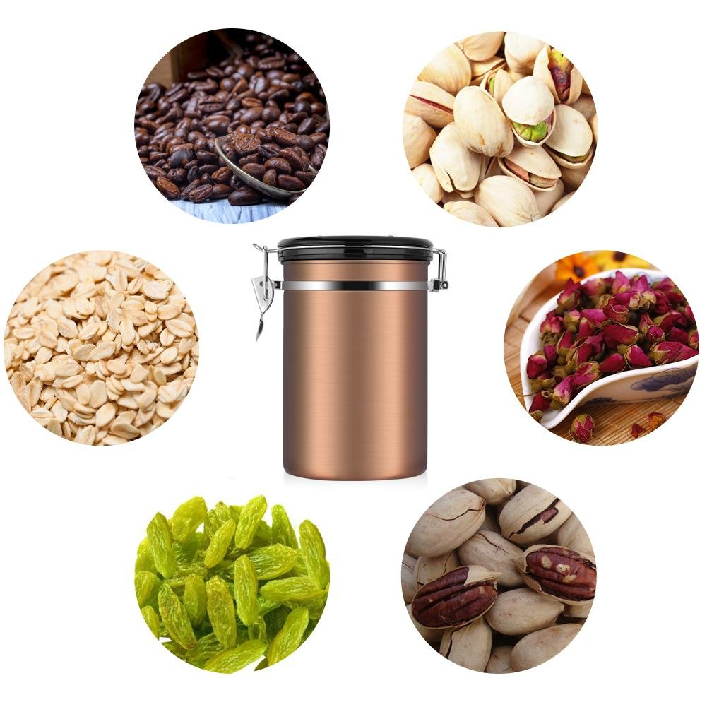 Asixx 1.8L Coffee Canister Large Airtight Stainless Steel Coffee Container Kitchen Sotrage Canister for Coffee Gold Coffee Container and Birthday Gift