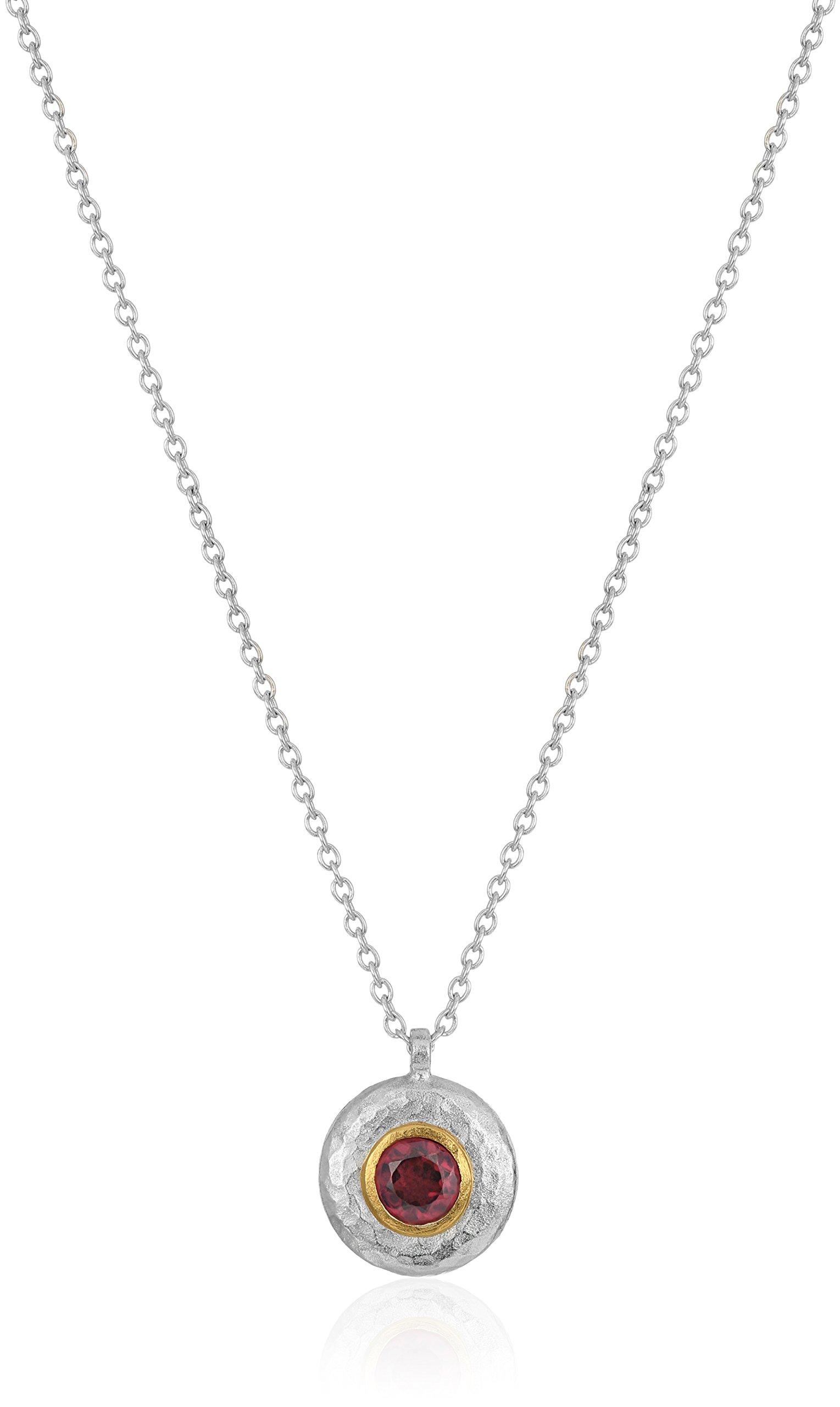 GURHAN ''Droplet'' Sterling Silver Garnet Pendant Necklace, 16'' + 2'' Extender
