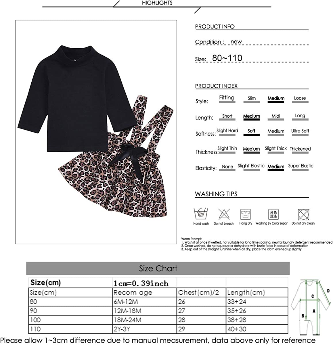 DaMohony 2 Piece Clothes for Babies Girls Suit with Shoulder Skirt Shirt Long Sleeve Floral Skirt for Spring Summer for Girls 6-36 Months