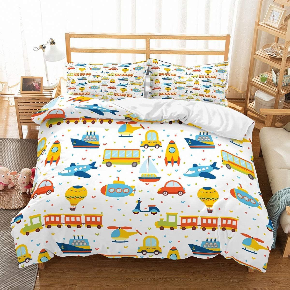 PATATINO MIO Christmas Boys Bedding Set Full Size White 3D Various Vehicles Cars Planes Trains Boat Balloon Toddler Kids Duvet Cover Set 3 Piece(No Comforter Included) 1 Duvet Cover 2 Pillowcase