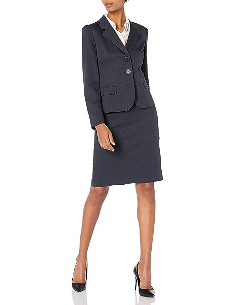 Amazon.com: Le Suit Traje de falda azul marino de tres ...