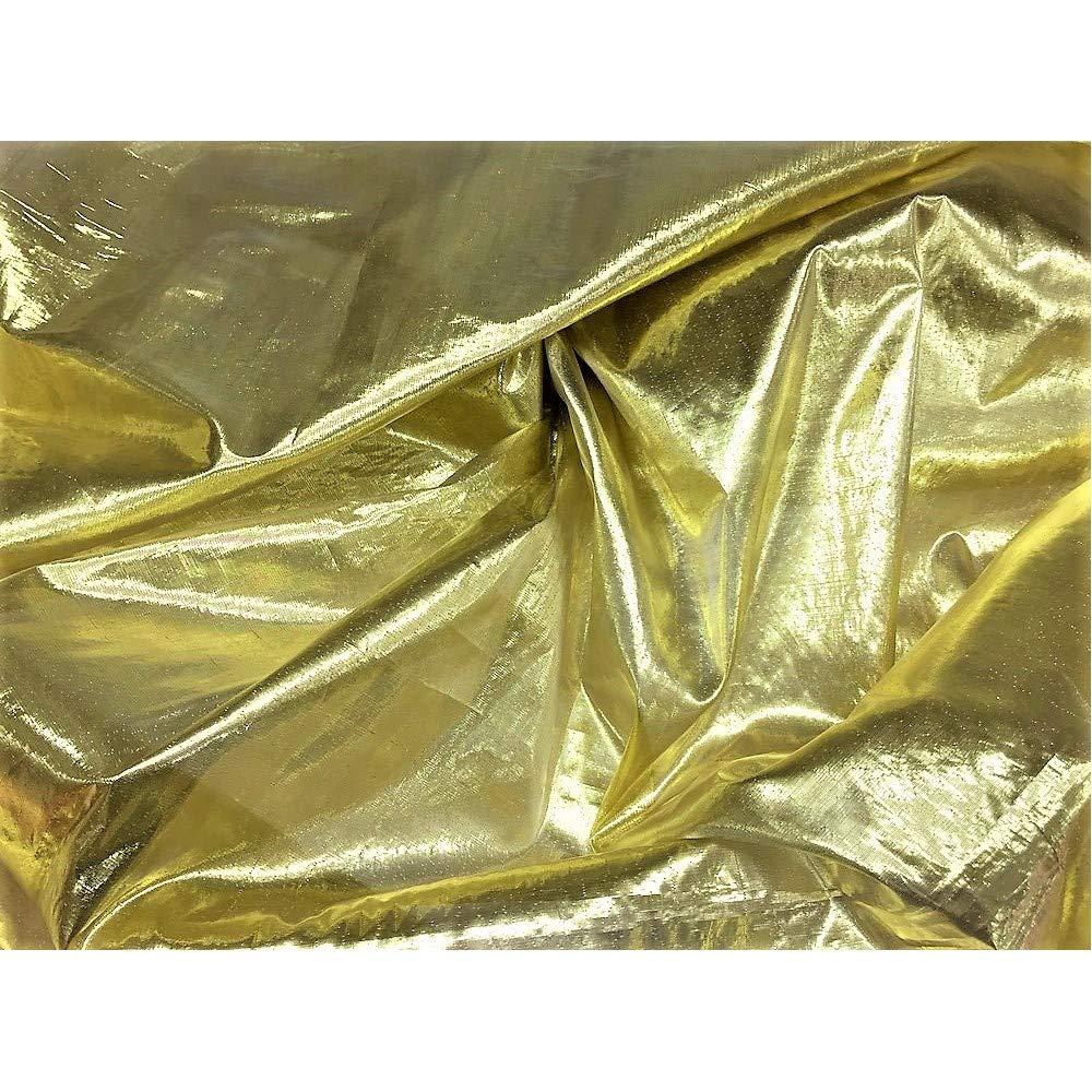 TOMASELLI MERCERIA Tessuto Stoffa Lame Liscio stagnola per Natale Lurex Argento e Oro Alta 150 cm Prezzo per Metro Oro