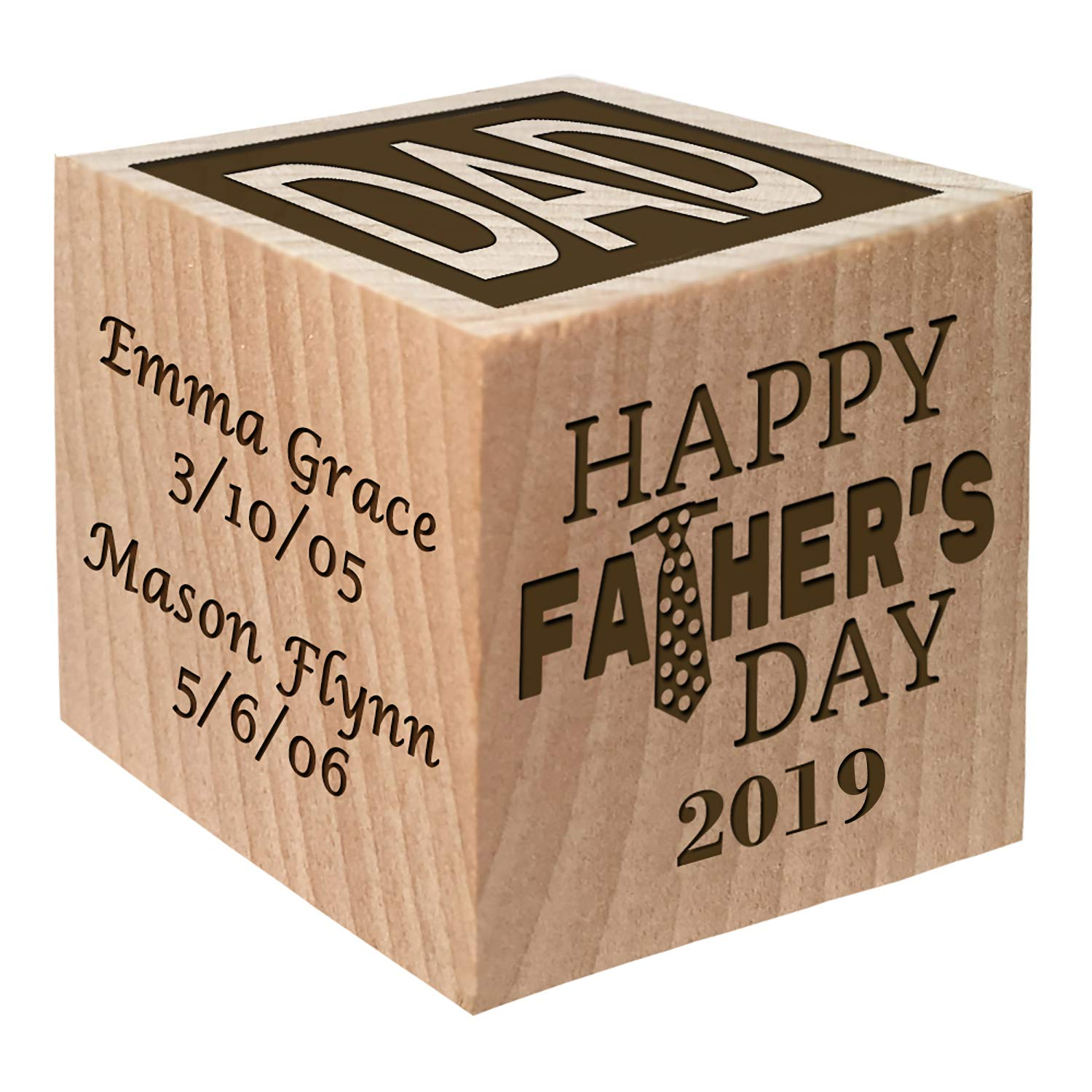 Personalized Block First Fathers Day Gift Custom Engraved Wooden Baby Block for Boy and Girl and New Dad 2019 Fathers Day Gift