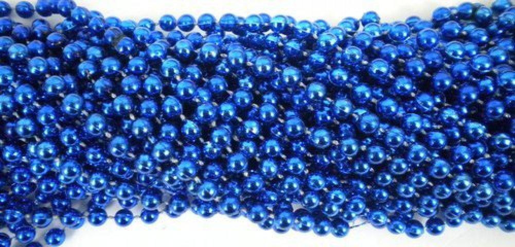 33 inch 07mm Round Metallic Royal Blue Mardi Gras Beads - 6 Dozen (72 necklaces) Mardi Gras Spot 05214001149