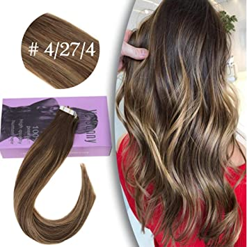 Vesunny Tape In Hair Extensions Balayage 14 Inch Ombre Human Hair Color 4 Fading To 27 Strawberry Blonde Mixed Brown Skin Weft Tape In Human Hair