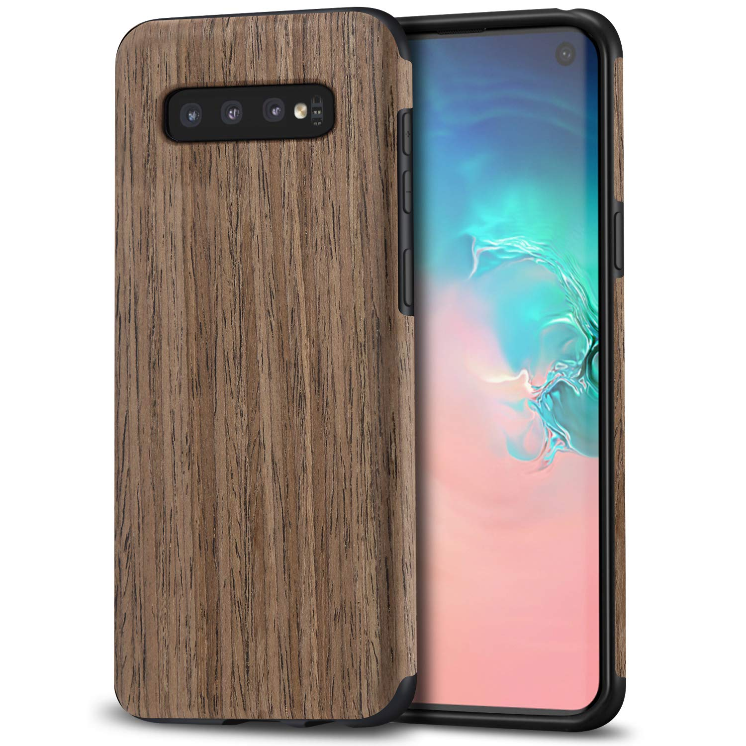 TENDLIN Galaxy S10e Case Wood Grain Outside Design and Flexible TPU Silicone Hybrid Slim Case Compatible with Samsung Galaxy S10e