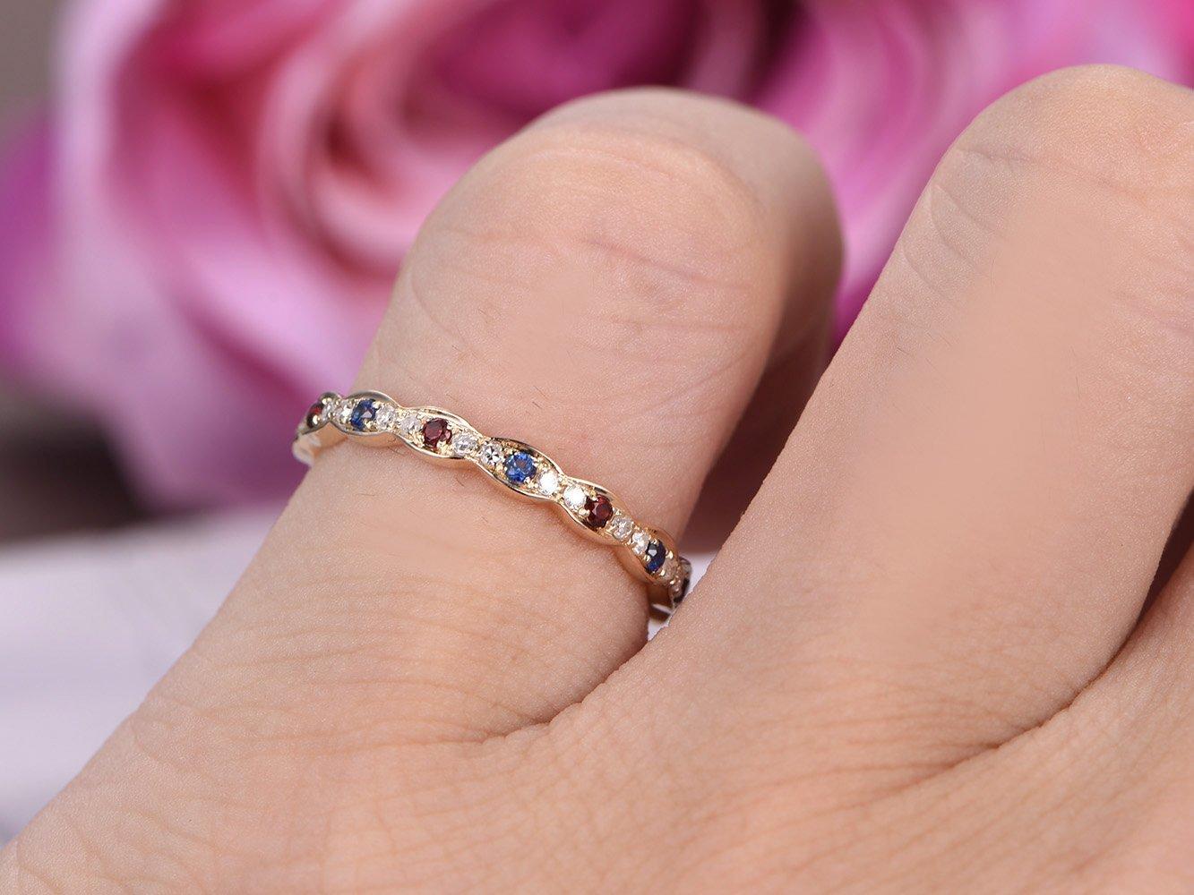 Amazon.com: Blue Sapphire Garnet Wedding Band Full Eternity ...