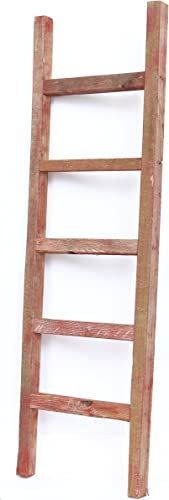 BarnwoodUSA Rustic Farmhouse Decorative Ladder - Our 4 ft Ladder can be Mounted Horizontally or Vertically and is Crafted from 100 Recycled and Reclaimed Wood No Assembly Required Red