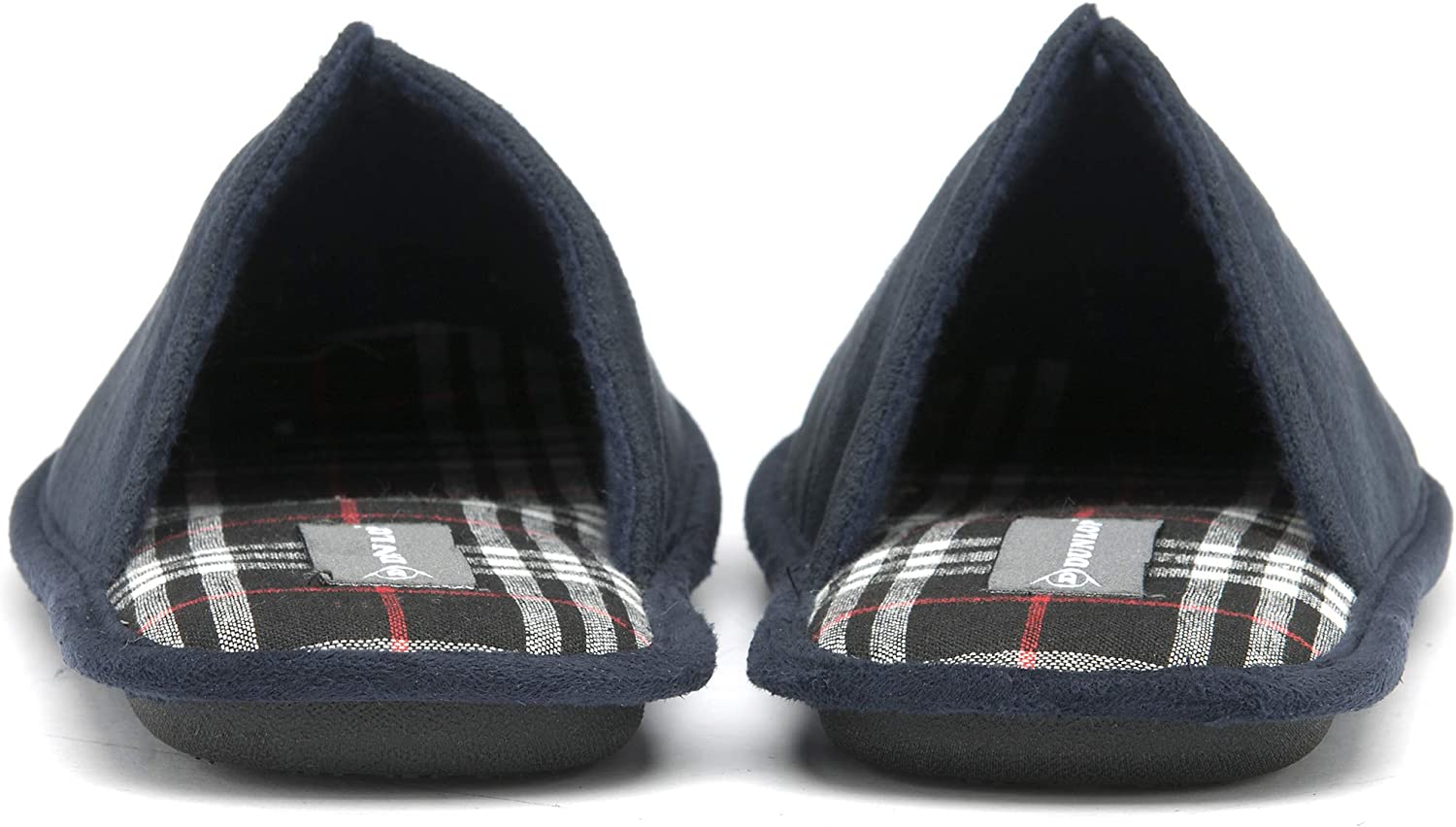 Dunlop Mens Slippers Slip On Mule Faux Suede Check Lined Memory Foam Sizes S M L