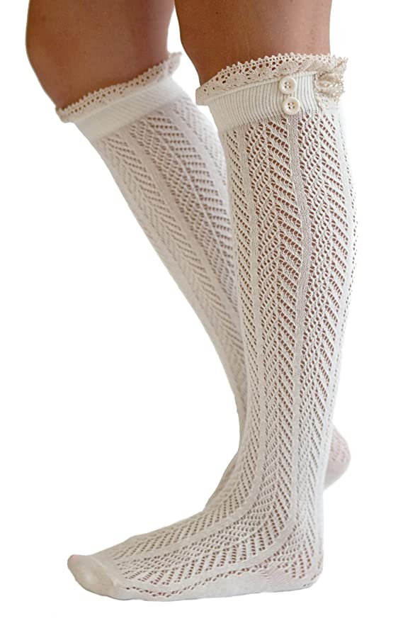 Button Boot Socks with Lace Trim Boutique Socks by Modern Boho $12.95 AT vintagedancer.com