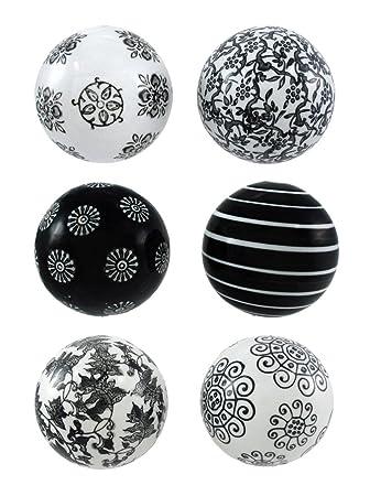 Amazon Com Ceramic Decorative Fruit And Balls Set Of 5 Black And