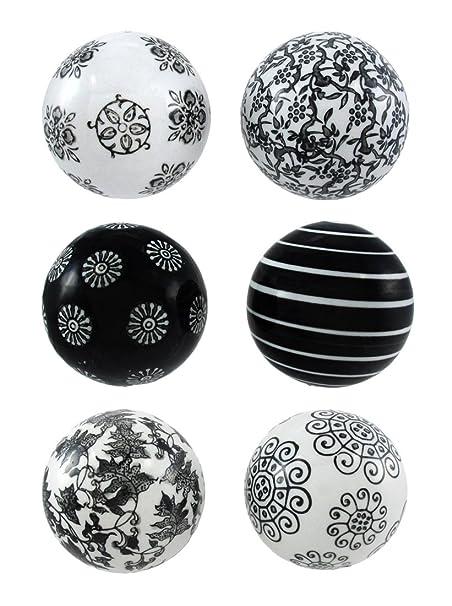Bombayjewel Set Of 40 Black And White Decorative Balls 40 In Diameter Awesome Black And White Decorative Balls