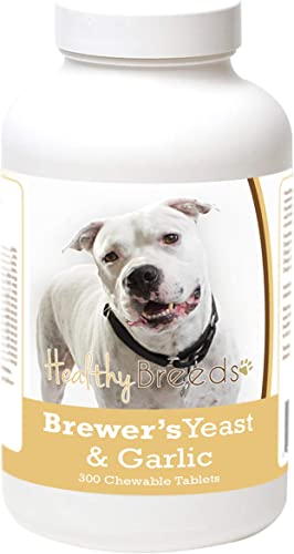 Healthy Breeds Brewer s Yeast Garlic – Veterinarian Formulated to Support Healthy Skin Coat and Repel Fleas Ticks – Over 200 Breeds – 300 Chewable Tablets