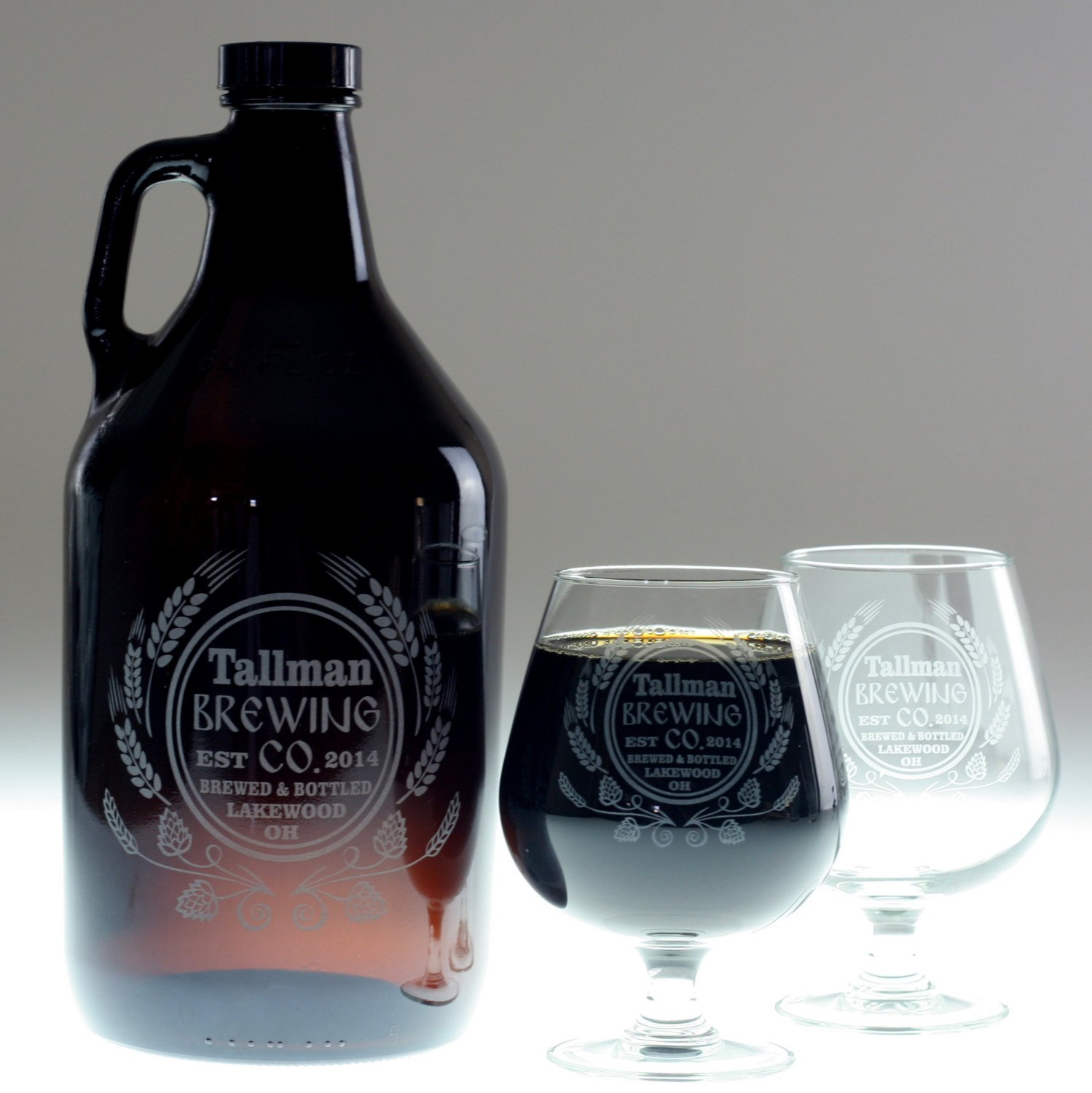 Personalized Engraved Beer Gift Growler & 2 Snifters Modern Hops and Wheat Design