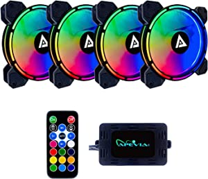 Apevia AC4-RGB Arcane 120mm Silent Addressable RGB Color Changing LED Fan for Gaming with Remote Control, 16x LEDs & 8X Anti-Vibration Rubber Pads (4-pk)