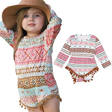 2017 Fashion Toddler Infant Baby Girl Aztec Romper Jumpsuit Bodysuit Outfit  Long Sleeve Clothes (0 e2403a25a