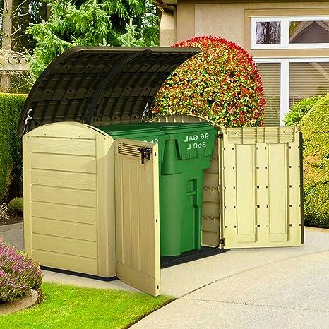 Fuera de unidad de almacenamiento de herramientas de plástico caja de jardín cobertizo armario grande cubo ...