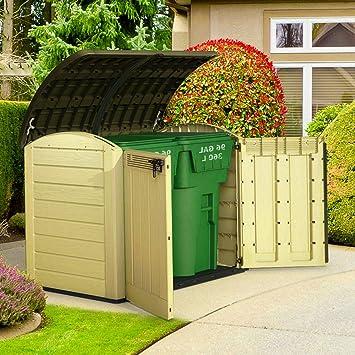 Fuera de unidad de almacenamiento de herramientas de plástico caja de jardín cobertizo armario grande cubo