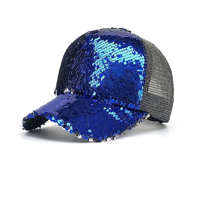 OPOOY Gorra para mujer, lentejuelas de gorra de béisbol de cola de caballo bollos desordenados