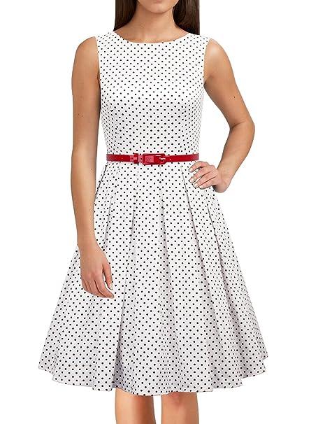 LUOUSE Lana vestidos mujer corto vintage retro Estilo de 1950 Rockabilly Escote Elegante,