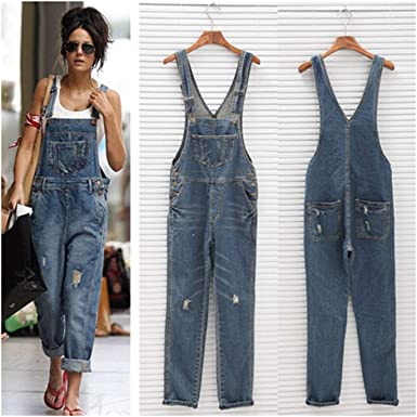 Jumpsuits Women Sleeveless Denim Jeans High Street Playsuits Overalls Straps Jumpsuit Straight Trousers