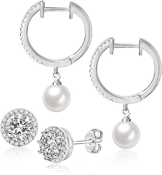 Fashion Women Crystal Pearl 925 Sterling Silver Hoop Stud Earrings Jewelry Gifts