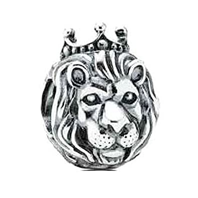 4d23667ae King Lion King of the Jungle 925 Sterling Silver Charm Bead Fits Pandora  Charms: Amazon.co.uk: Jewellery
