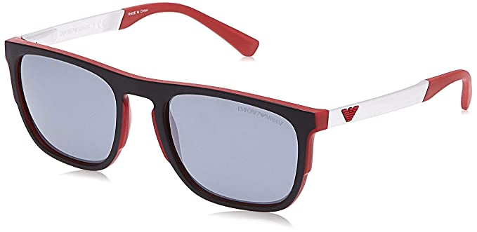 Emporio Armani 0EA4114 Gafas de sol, Matte Red, 55 para Hombre