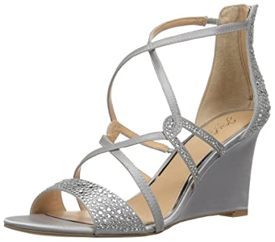 92e9ffde5 Badgley Mischka Jewel Women's Ally II Wedge Sandal, Silver, 6 Medium US