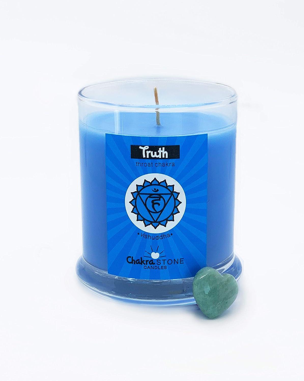 Chakra Stone Candles Truth   Vishuddha   Throat Chkra Candle Infused with Citrus Ginger Fragrance and Amazonite Heart Stone