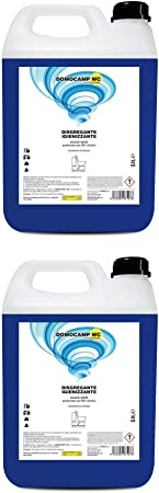 DOMOCAMP - 2 unidades de 5 litros de inodoro líquido para inodoro químico – para depósito de caravana, gabinete de camping, acque negro, ceso portátil