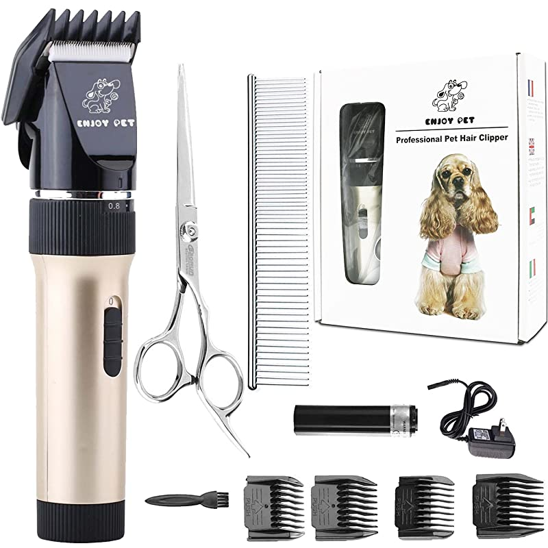 ENJOY PET Dog Clippers Cat Shaver, Professional Hair Grooming Clippers Detachable Blades Cordless Rechargeable, Pet Clipper Kit with Scissor, Combs