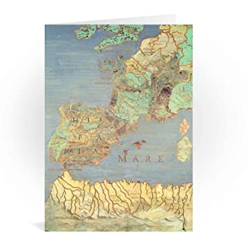 Spain And Africa Map.Amazon Com Map Of France Spain And North West Africa Greeting