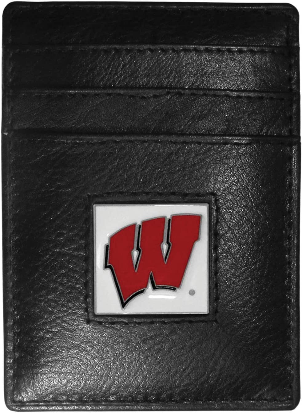 NCAA Siskiyou Sports Mens Wisconsin Badgers Leather Money Clip//Cardholder Packaged in Gift Box One Size Black