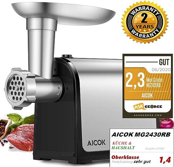 AICOK - Picadora de carne eléctrica 3 en 1, embutidos multi robot de cocina, embutidos con 2 placas de acero inoxidable, cúbico, tubos de embutidos para uso doméstico, certificado CE, 1341 W máx.: Amazon.es: Hogar