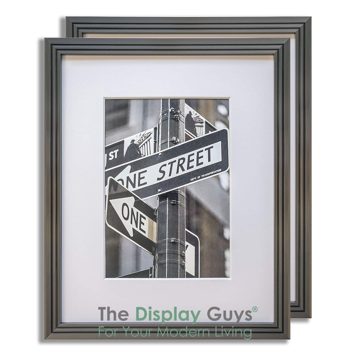 The Display Guys 2-Pack Steel Grey (Gunmetal) 16x20 Picture Frames w. Mat for 11x14 + Bonus 4x6 Collage Mat (Art Deco Series), Real Glass 5/8'' Thin Border by Generic