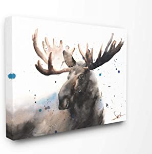 Stupell Industries Majestic Moose Watercolor Painting with Blue Splatter Canvas Wall Art, 16 x 20, Multi-Color