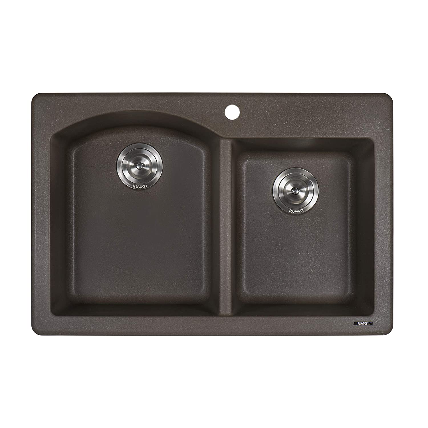 Ruvati 33 x 22 inch Dual-Mount Granite Composite Double Bowl Kitchen Sink – Espresso – RVG1344ES
