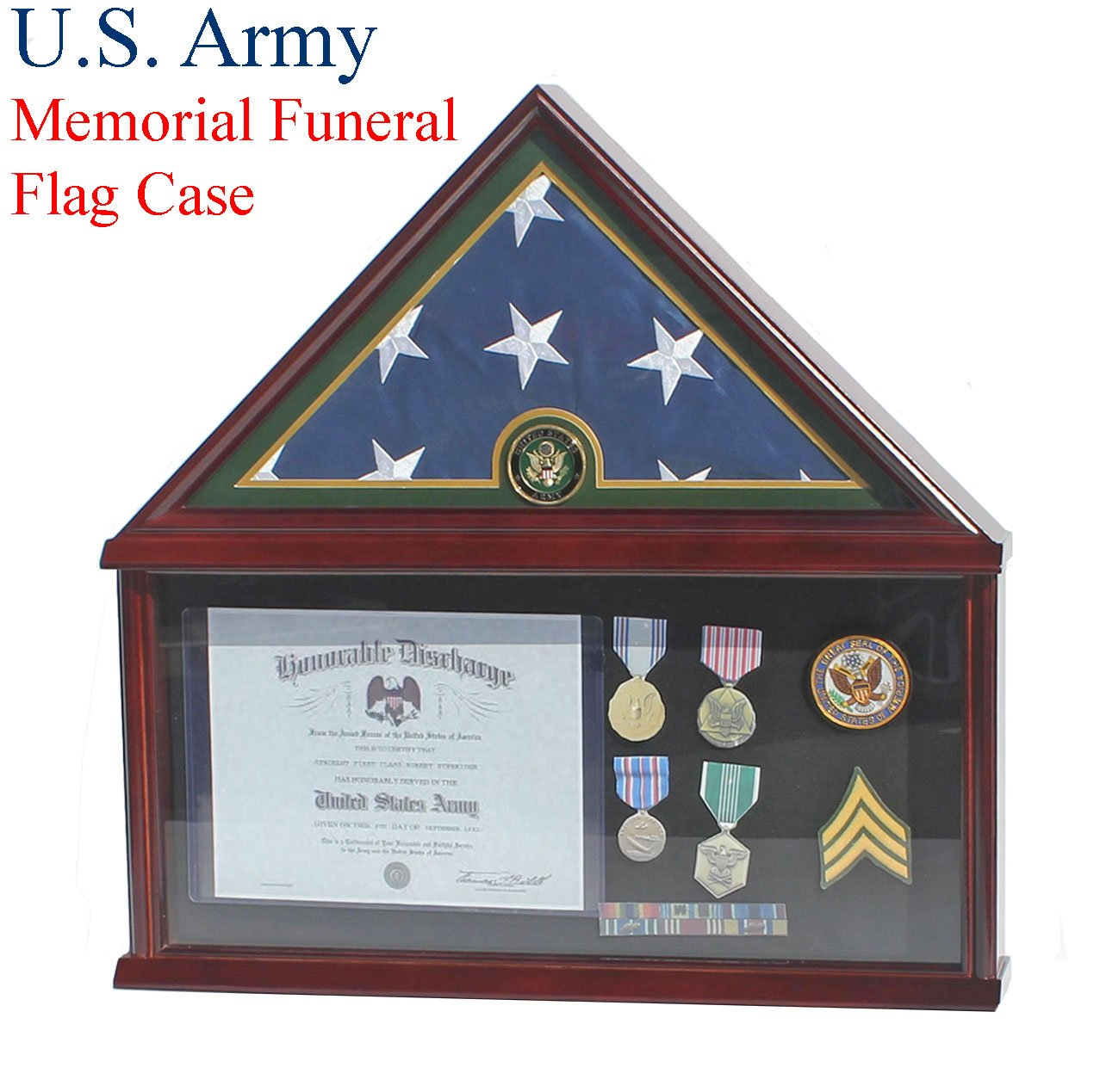 Elegant Memorial/Funeral Flag Display Case Storage Military Shadow Box, for 5'X9.5' flag folded, FC07-ARMY (with Army Medallion) by DisplayGifts
