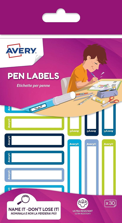 Avery España RESMI30G-UK. Etiquetas para bolígrafos y lápices azul y verde, 50x10mm, 30 etiquetas por sobre: Amazon.es: Oficina y papelería