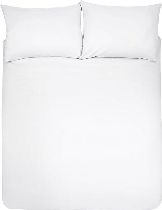 Amazon Basics - Juego de fundas de edredón y de almohada de microfibra, 220 x 250 cm + 2 fundas 50 x 80 cm - Blanco