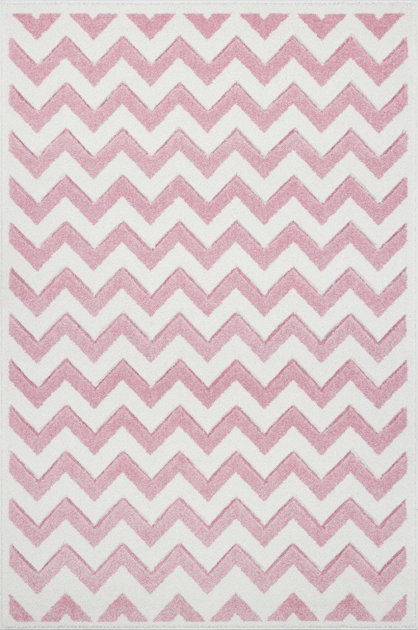 Moderner Jugendteppich Kinderzimmer Kinderteppich Zacken Linien in rosa Weiss Größe 160 x 220 cm