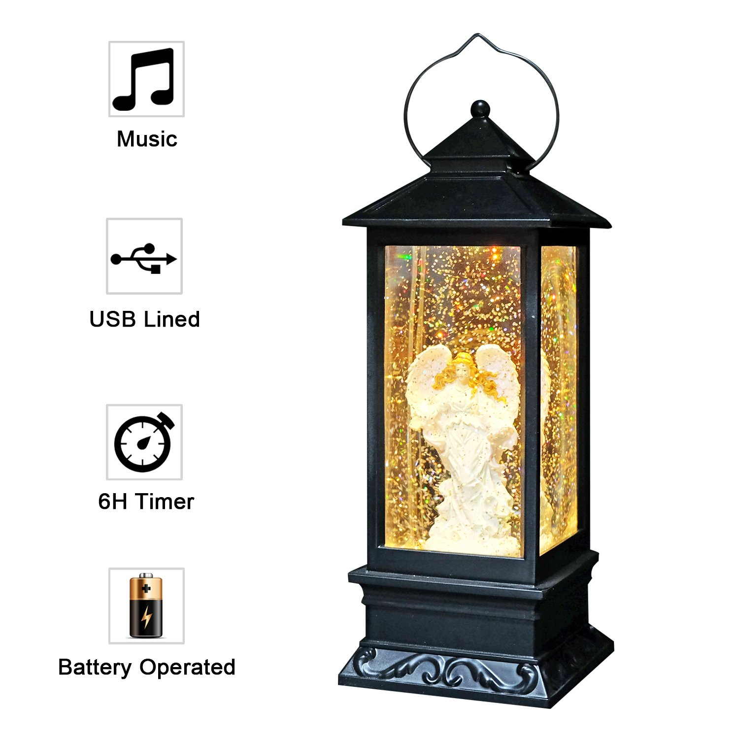 Eldnacele Musical Singing and Lighted Plug-in & Battery Operated Lighted Christmas Water Glittering Snowing Globe Christians Church Lantern for Home Decoration Angel by Eldnacele